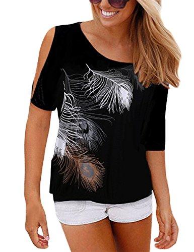 Uniquestyle Femme Col Rond Épaules Manches Courtes Tee Shirt Top Haut Imprimé Plume Taille Loose (X-Large, Noir)