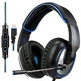 Sades R7 7,1 Kanal Virtual USB Gaming Headset Surround Stereo verdrahtet über Ohr Gaming Kopfhörer mit MIC Revolution Lautstärkeregelung Geräuschunterdrückung LED-Licht für PC/Mac/Laptop (schwarz/blau