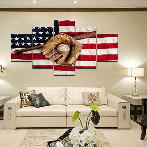 wyfiytong Amerikanischen Usa Flagge Leinwand g Sport Baseball handschuh baseballschläger Poster Für Wohnzimmer Wohnkultur Drucke Wandkunst Bilder-30x40cmx230x60cmx230x80cmx1