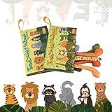 Libros blandos para bebés, libros de tela de cola animal para niños pequeños, juguetes interactivos, paquete de 2