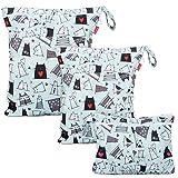 Damero 3 Stück windeltasche wetbag wiederverwendbar, Nasstaschen für Unterwegs, Wetbag windelbeutel für Babys Windeln, schmutzige Kleidung und anderes Zubehör (Katze)
