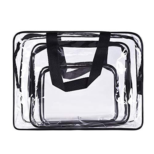 Kulturbeutel zum Aufhängen, TankerStreet 3 Pack Klar Makeup Tasche Wasserdicht Reisetasche Kosmetischer Organisator 3 Größe Waschen Tasche für Damen Reise Geschäftsreise Shampoo Schwarzer Griff