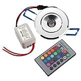 SODIAL (R) 3W LED Einbaustrahler Einbauleuchte Deckenlampe Decken Spot RGB mit Remote Neu