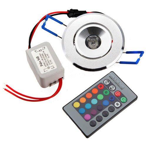 SODIAL (R) FARETTO LED RGB INCASSO PLAFONIERA 3W DC 12V + TELECOMANDO