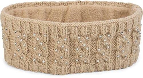 styleBREAKER Stirnband mit Zopfmuster und Strass, Weiches Fleece Innenfutter, Haarband, Headband, Damen 04026001, Farbe:Beige