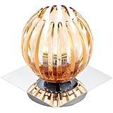 Trio-Leuchten 594010124 Tischleuchte Touch me inklusiv 1x G9, 28 W Eco, 4-fach schaltbar, Chrom, Acrylstäbe amberfarbig