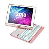 iPad 9.7 Keyboard Case 2018/2017,7 Colors Backlit Bluetooth Keyboard Case/360 Rotate Stand Case/BWORPPY