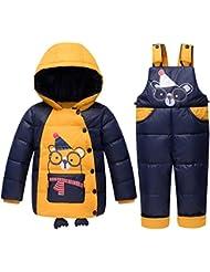 Free Fisher Chaquetas para Niñas Chaqueta de esquí para Niño Conjunto 3 piezas Abrigo con Capucha + Pantalones de nieve Ropa de invierno, Amarillo Talla 110