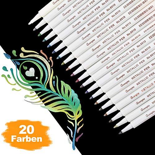 DealKits Premium Metallic Marker Stifte, Satz von 20 sortierten Farben Metallischen Stift Pens für Kartenherstellung DIY Fotoalbum Gästebuch Hochzeit Papier Glas Kunststoff Stein - Feiner Spitze(1MM) (Stifte Papier-für)