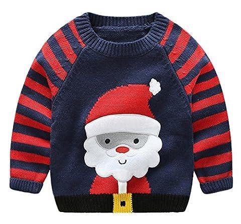 La Vogue Mignon Pull en Tricot Col Rond Père Noël Automne Hiver pour Enfant Sweat-Shirt Garçon Marine Size3