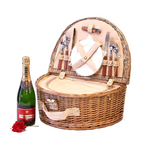 Westbury 2 Person Picnic Hamper Basket with 75cl Piper-Heidsieck Champagne 75cl - Gift Ideas for Mum, Mothers Day, Valentines, Birthday, Wedding, Anniversary, Business and Corporate days out