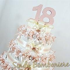 Idea Regalo - Sindy Bomboniere Torta BOMBONIERA sacchettini per 18esimo diciottesimo Compleanno Ragazza con gessetto (Torta da 35 sacchettini)