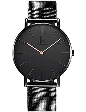 Alienwork Quarz Armbanduhr elegant Quarzuhr Uhr modisch Zeitloses Design klassisch Metall schwarz 98469G-L-02