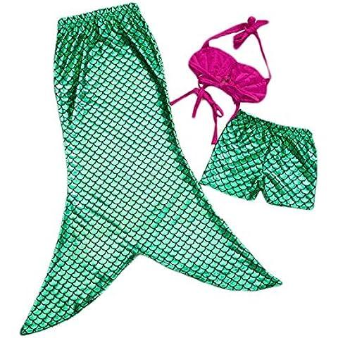 DELEY Niñas de 3 piezas de la Princesa Sirena de la Cola donde se puede Nadar en Bikini Set de trajes de baño Traje de