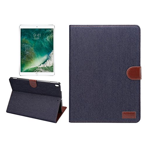 Centenarios Für iPad Pro 10.5-Zoll-Denim-Tuch-Textur-Oberfläche Horizontal Flip Leder Schutzhülle mit Halter & Kartensteckplätze (Farbe : Schwarz) -