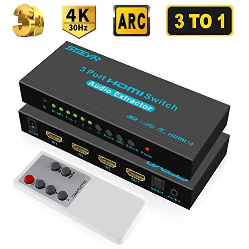 3 Port Hdmi Switcher (SGEYR 3x1 HDMI Switch 4K 3 Port HDMI Umschalter Switcher 3 In 1 Out mit IR Fernbedienung|Audio Extractor|SPDIF und 3.5mm Audio Output|ARC|Unterstützt 4K 30Hz 3D 1080P für Xbox PS4 PS3 HDTV HDMI 1.4)