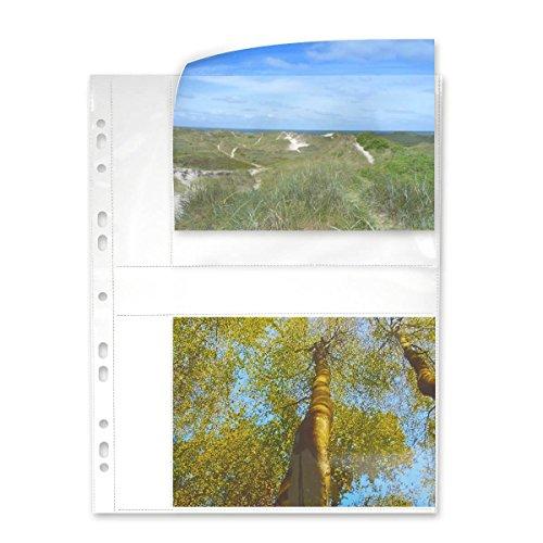 mashpaper Fotohüllen weiß 100 Hüllen 13x18 cm Querformat für 2x2 Fotos 75644