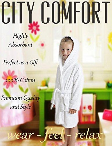 21c04df1bce4e CityComfort Peignoir pour Enfants Petit Garçon Fille avec Capuche 100%  Coton Robe de Chambre Serviette Doux Éponge de Coton 7-13 Ans