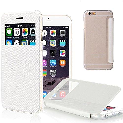 iPhone 6 Hülle, Pasonomi® [View Window] [Ultra Slim] Smart Handy Tasche Schutz Hülle Bumper Hard Schale Wallet Flip Cover Etui für Apple iPhone 6 4.7- Zoll (iPhone 6 4.7 Zoll, Schwarz) Weiß