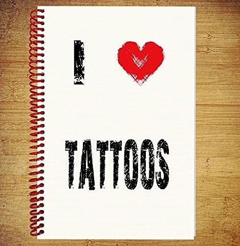 A5ordinateur portable/agenda de bloc de dessin des Plans de pensées idées–I Love tatouages