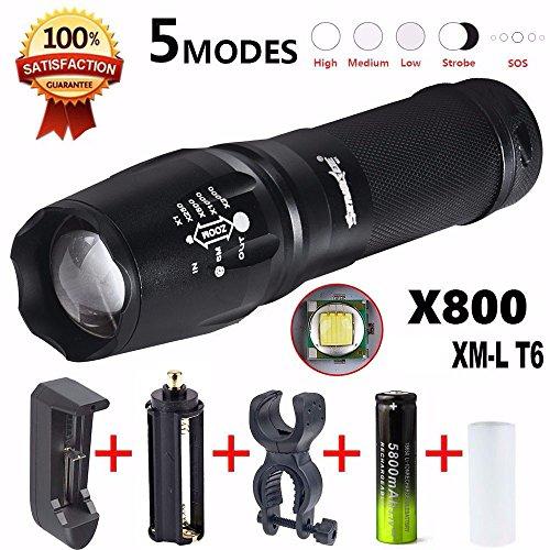 Preisvergleich Produktbild Taschenlampe, happytop Military Taschenlampe 5000Lumen G700X800LED Zoom Fahrrad Taschenlampe Akku Ladegerät