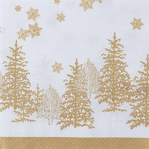 20 Servietten Bäume & Schneeflocken gold / Weihnachten 33x33cm
