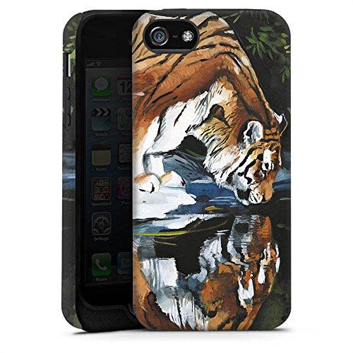 Apple iPhone 5s Housse Étui Protection Coque Tigre Eau Water Cas Tough terne