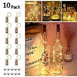 10 Stück LED Flaschenlicht, Opard 20 LEDs 2M Flaschen Licht Lichterkette Kork Flaschen Kupferdraht Lichterkette DIY- Flaschen Lichter für Hochzeit Party Romantische Deko (Warme Weiß)