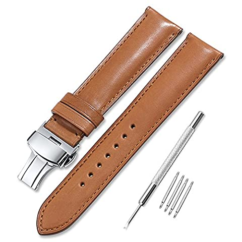 Watch Strap Leather iStrap 19mm Brown Genuine Leather Watch Band High Quality France Calf Leather Replacement Watchband Silver Deployment
