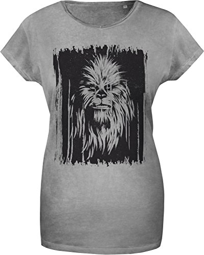 GOZOO Star Wars T-shirt Donna Vintage Wookiee Oil Dye BOXED 100% Cotone, Stampa di Alta Qualitá Grigio S
