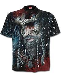 Spiral Direct Hommes Viking Enveloppant Couvrant T-Shirt Noir