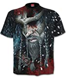 Spiral Direct Hombre Vikingo Tiras Integral Camiseta Negra - Negro, Medium