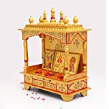 Golden Wooden Hand Painted Temple for Home