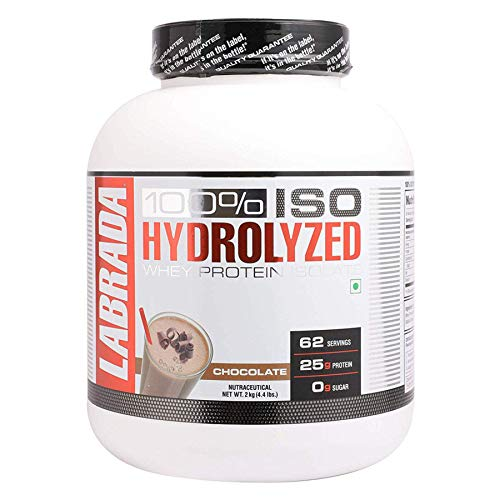 Labrada 100% ISO HYDROLYZED Whey Protein Isolate (25g Protein, 0g Sugar, 0 Fat, 62 Servings) - 4.4 lbs (2kg) (Chocolate)