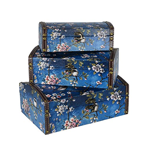Scrafts Floral Pattern Curved Top Royal Wooden, Leather Multipurpose Jewellery/Accessories/Cloths/Cosmetics Organizer/Storage Chest-Set of3