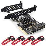 Rivo 4-Port SATA III PCIe x4 Raid Hard Drive Controller Card with Marvell