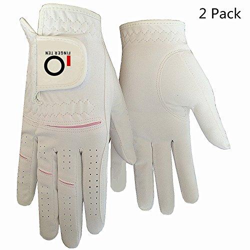 Finger Ten Damen-Golf-Handschuhe beide Hand, links / rechts, wasserabweisend, gute Griffigkeit, passend für XS / S / M / L / XL, 1 Paar, XS in Pair