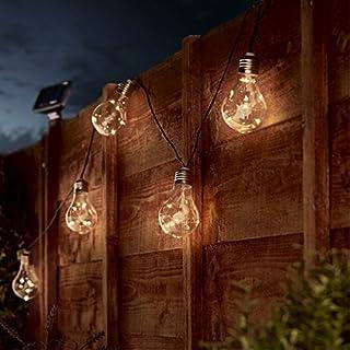 Outdoor Light Bulbs - Solar Powered - 50 Wire Light LEDs - 3.9m - 10 Bulbs by Festive Lights