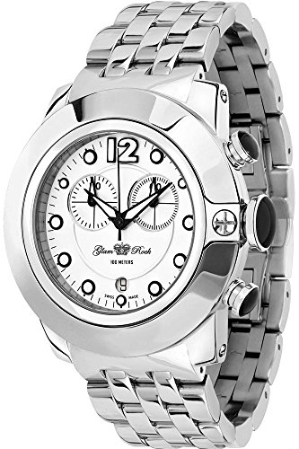 Glam Rock SoBe Chronograph Watch Unisex – Quartz – white dial – Steel Bracelet GR32154 – Grey