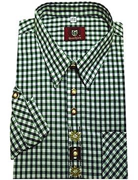 Trachten Hemd mit Krempelarm khaki / dunkel grün weiß kariert Orbis 0108 bequemer Schnitt M bis 6XL