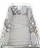 Baby Infant Krippe Bumper Pads Bett Baumwolle Sicherheit Schienbeinschutz atmungsaktiv, Cradle Protector, Kinderbett schlafen Kissen, Maschine waschbar, Kinder Bettwäsche Kit, grau