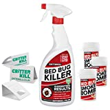 CritterKill Bed Bug Killer Kit - For Low Level Home Infestation - Bedbug Spray + Smoke Bombs + Insect Traps (1L / 3x3g / 3)