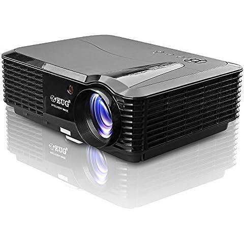 EUG Heimkino Projektor HD Auflösung unterstützt 1080p 3400 Lumen für Filmabend Multimedia Player für Videospiele TV Ipad PC DVD LCD Beamer 1280 x
