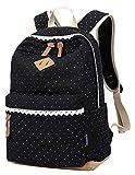 Coofit Damen Mädchen Rucksäcke Schulrucksäcke Canvas Schultaschen Polka Dots Sport Freizeitrucksack
