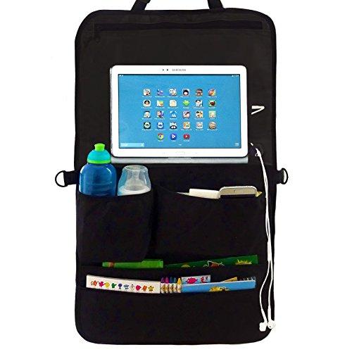 Auto-Rücksitz Organizer & Sitzschoner mit Tablet Halter für Kinder - vielfältiger Rückenlehnen-Schutz für mehr Ordnung im Auto mit Touch Screen Tablet-Fach oder DVD Halterung & 5 Taschen