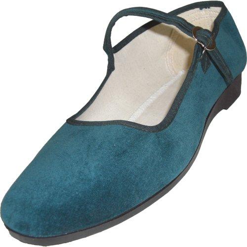 Cina scarpe di velluto numeri 33-42 vari colori Verde scuro