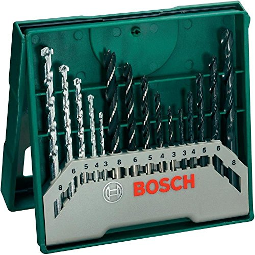 Bosch Mini X-Line - Pack con 15 brocas para metal, piedra y madera, perforación 3- 8 mm, color negro y verde