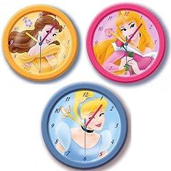DISNEY PRINCESS CHILDRENS/KIDS BOYS/GIRLS BEDROOM WALL CLOCKS NEW BY MASSIMO (colors may vary)
