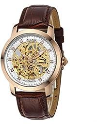 Reloj mecánico automático Correa de cuero Hollow Diamond Men , 1