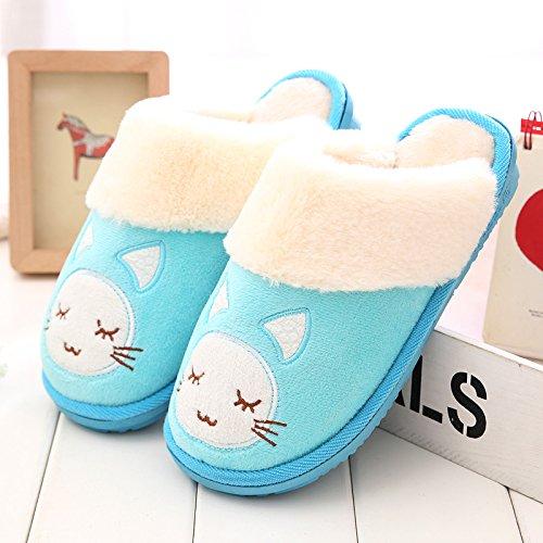 DogHaccd pantofole,In autunno e inverno il cotone pantofole in camera soggiorno pacchetto caldo con un bel cotone spessa scarpe e calzature donna Blu chiaro3